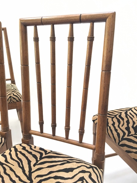 Bamboo Tiger Print Dining Chairs back view