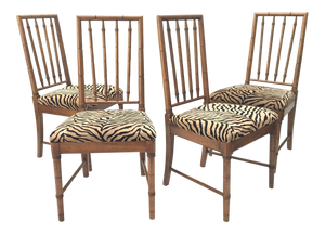 Bamboo Tiger Print Dining Chairs