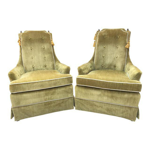 Hollywood Regency Green Crushed Velvet Chairs