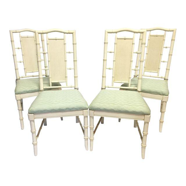 Set of 4 McGuire Style Faux Bamboo Dining Chairs