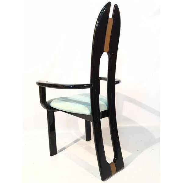 Set of Six 80's Black Lacquer Italian Dining Chairs by Pietro Costantini for Ello