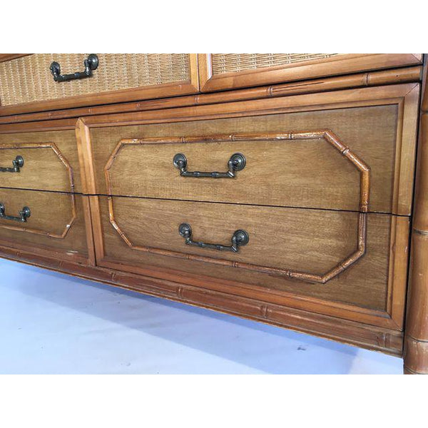 Broyhill Caned Rattan and Faux Bamboo Dresser drawers