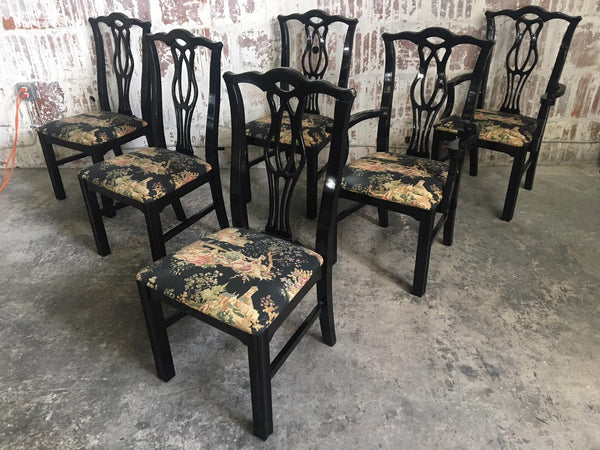 Set of Six Black Chinoiserie Chippendale Dining Chairs