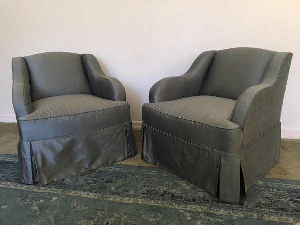 Pair of Blue Silk Club Chairs by Hickory Chair