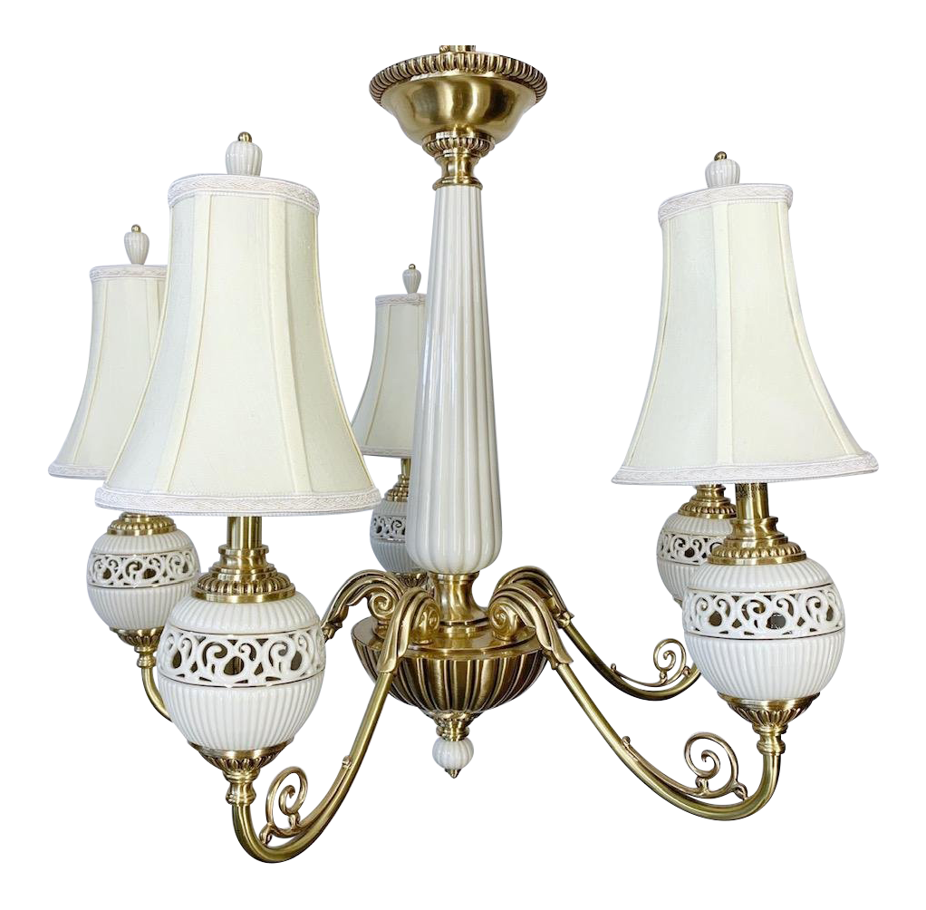 Brass and Ceramic Five Light Chandelier by Lenox