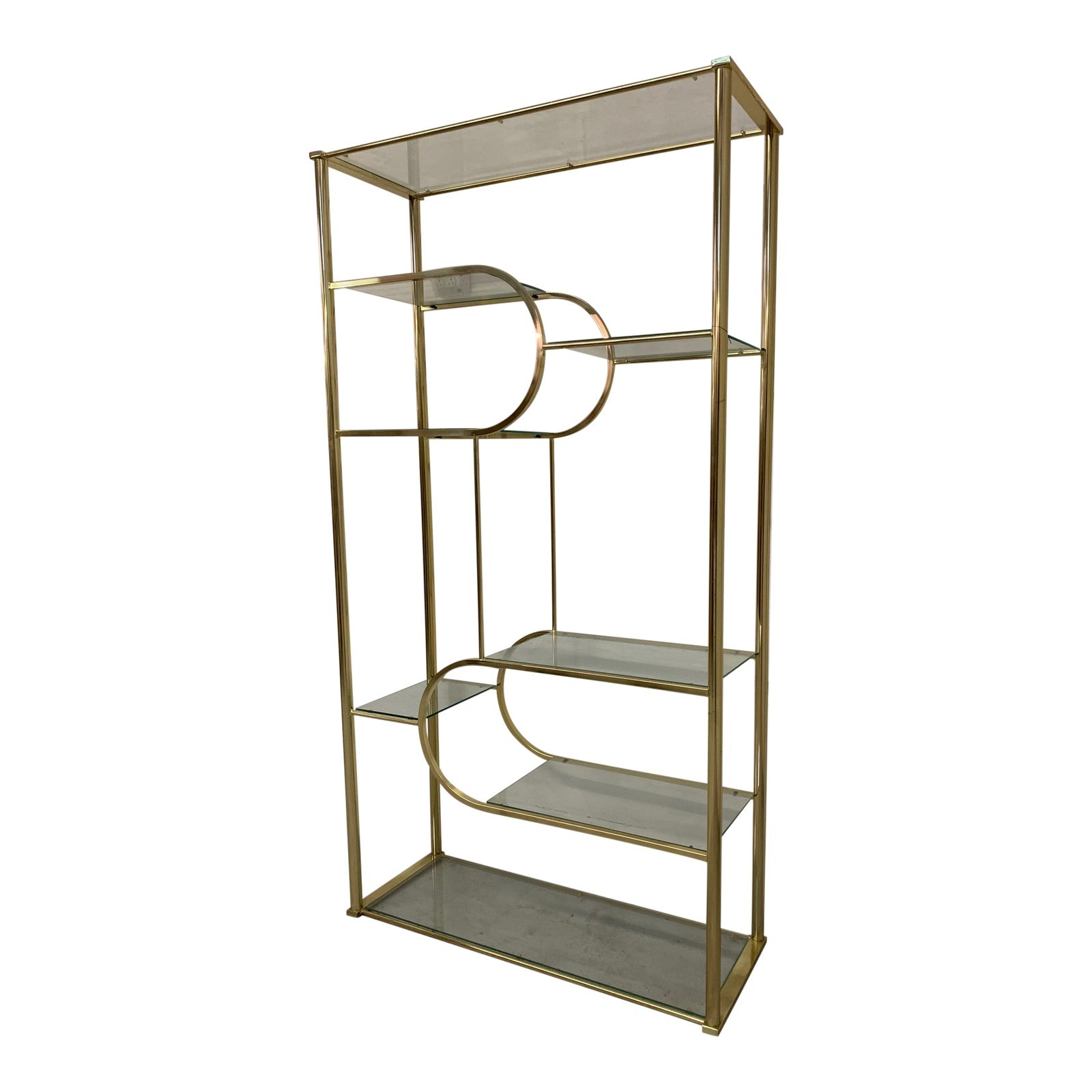 Brass and Glass Etagere by Design Institute of America in the Style of Milo Baughman