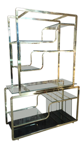Brass and Glass Etagere in the Manner of Milo Baughman