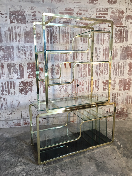 Brass and Glass Milo Baughman Etagere front view
