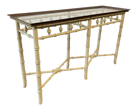 Brass and Glass Faux Bamboo Console Table by Thomasville