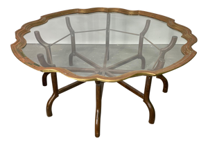 Brass and Glass Tray Top Coffee Table by Baker