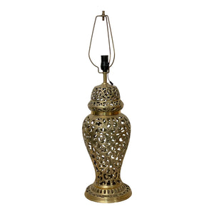 Brass Open Fretwork Cage Design Table Lamp