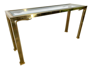 Brass Swan Head Console Table by Mastercraft