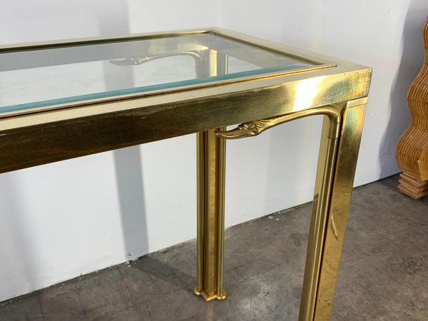 Brass Swan Head Console Table by Mastercraft close up