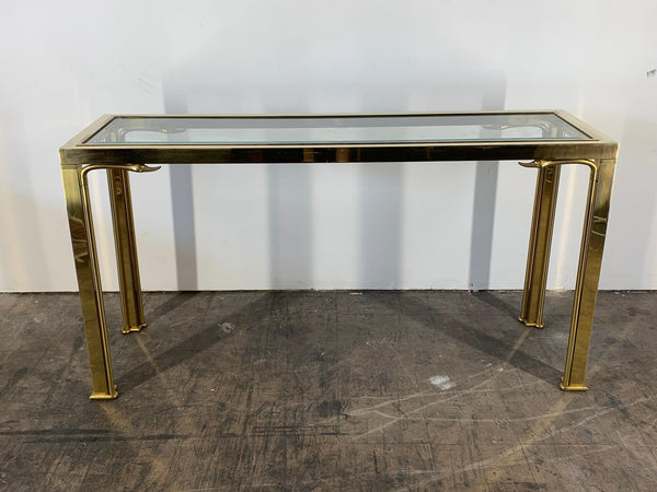 Brass Swan Head Console Table by Mastercraft front view