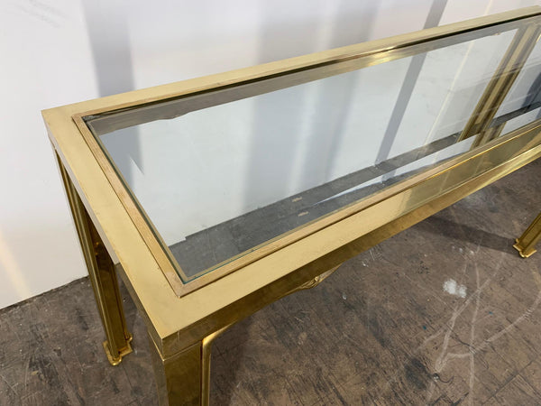 Brass Swan Head Console Table by Mastercraft top view