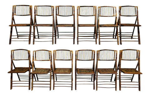 British Colonial Style Folding Bamboo Tiger Wood Safari Chairs, Set of 10