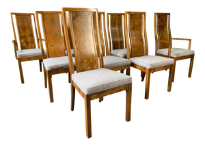 Burl Wood Dining Chairs by Founders Furniture in the Manner of Milo Baughman