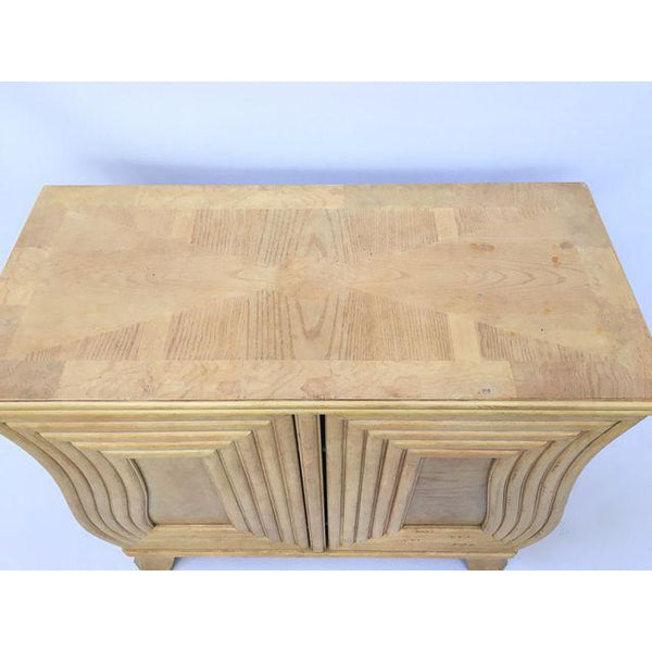 Art Deco Hollywood Regency Curved Wood Cabinet top