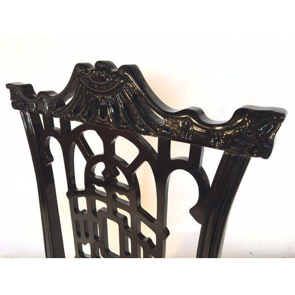 Set of 4 Black Lacquer Asian Chinoiserie Pagoda Dining Chairs