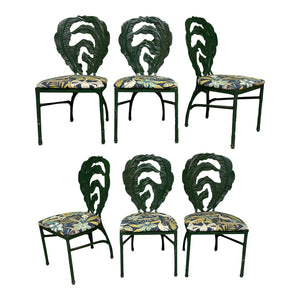 Cast Iron Sculptural Palm Leaf Dining Chairs, Set of 6