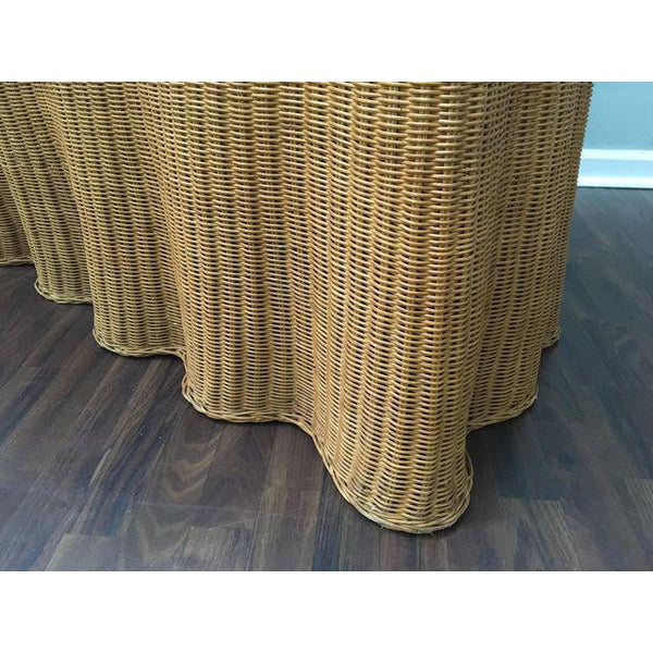 1970's Sculptural Trompe L'oiel Rattan Wicker Draped Skirt Console Sofa Table