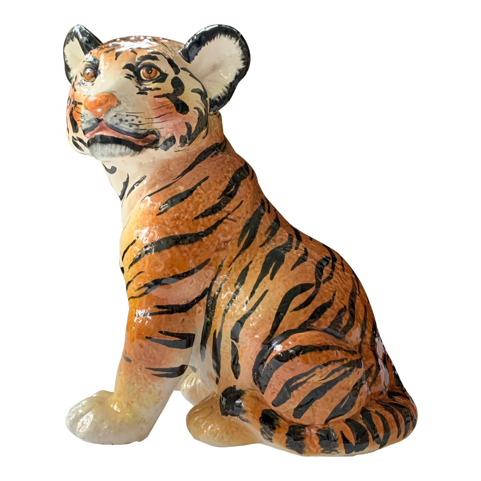 Ceramic Glazed Tiger Statue