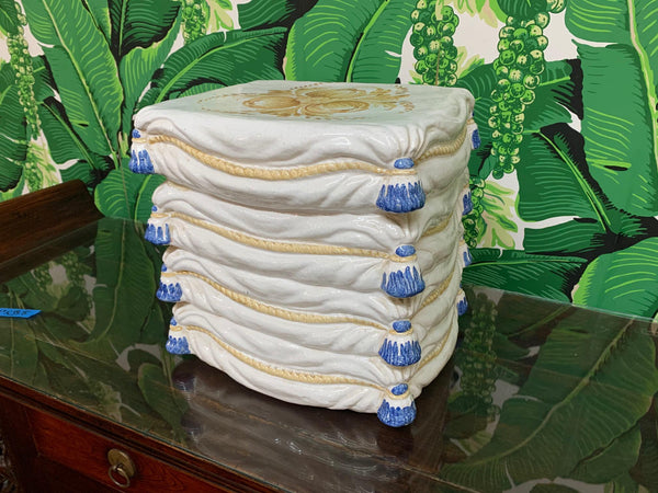 Ceramic Stacked Pillow Garden Stool front view