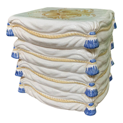 Ceramic Stacked Pillow Garden Stool