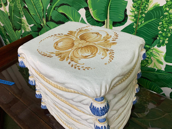 Ceramic Stacked Pillow Garden Stool top view
