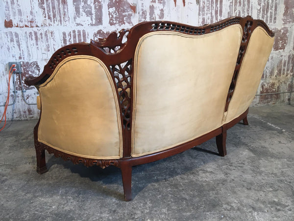 Chinese Chinoiserie Carved Wood Sofa rear view