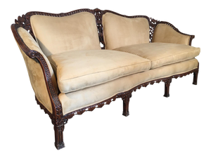 Chinese Chinoiserie Carved Wood Sofa
