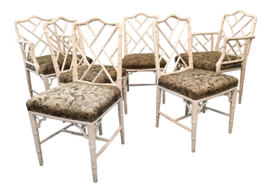 Set of 6 Upholstered Chinese Chippendale Faux Bamboo Dining Chairs