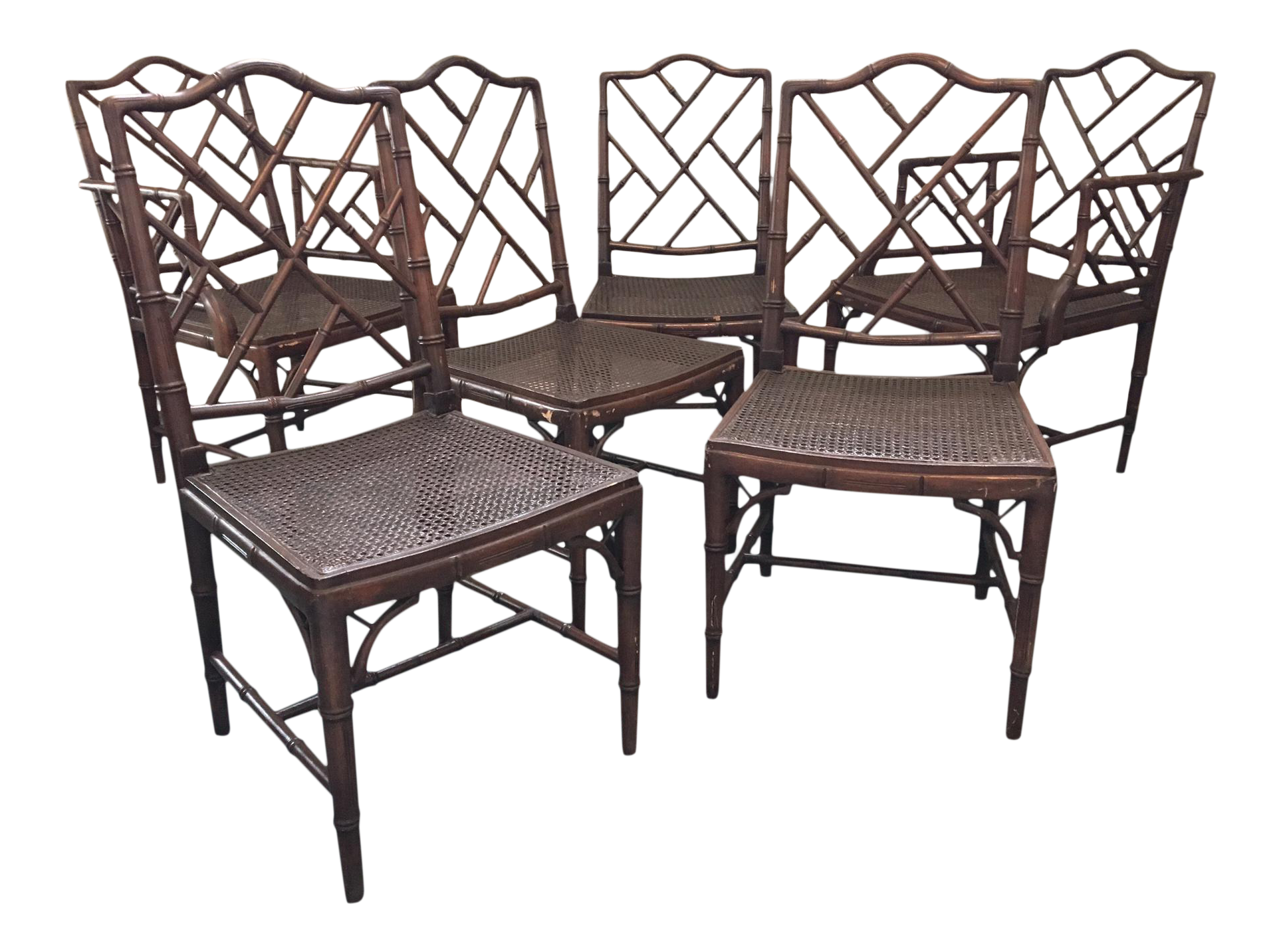 Set of 6 Chinese Chippendale Faux Bamboo Dining Chairs