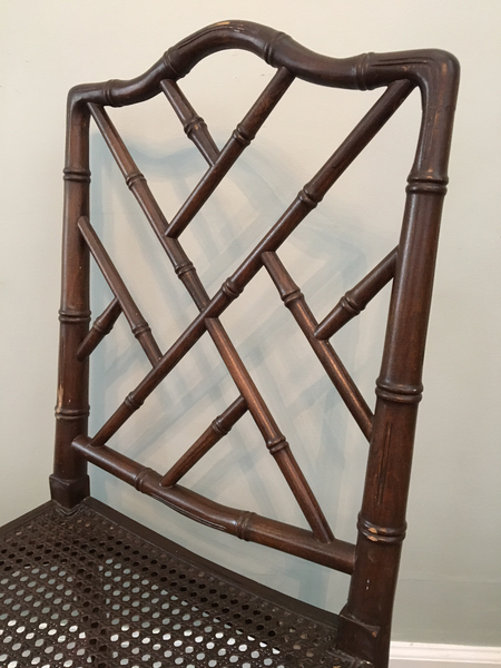Set of 6 Chinese Chippendale Faux Bamboo Dining Chairs back