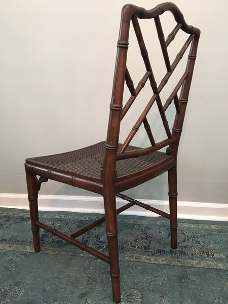 Set of 6 Chinese Chippendale Faux Bamboo Dining Chairs rear view
