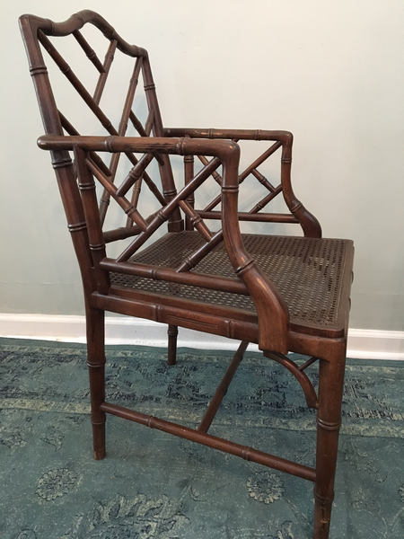 Set of 6 Chinese Chippendale Faux Bamboo Dining Chairs arm chair