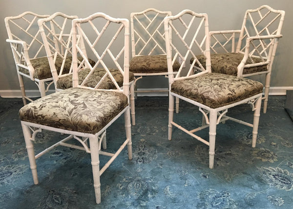 Set of 6 Upholstered Chinese Chippendale Faux Bamboo Dining Chairs group view