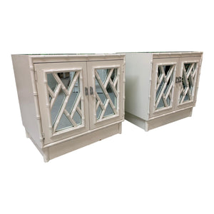 Chinese Chippendale Mirror Front Nightstands, a Pair