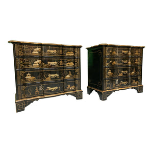 Chinoiserie Hand Painted Lacquered Dutch Chests by Baker Furniture, a Pair
