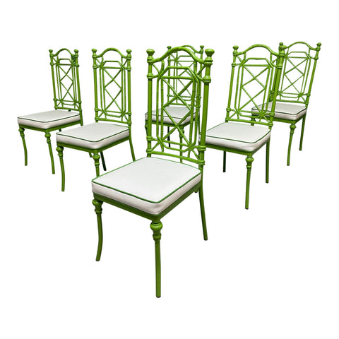 Chinoiserie Style Metal Dining Chairs by Kessler, Set of 6