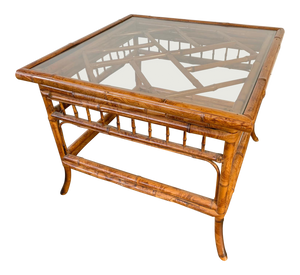 Chinoiserie Tiger Bamboo End Table front view