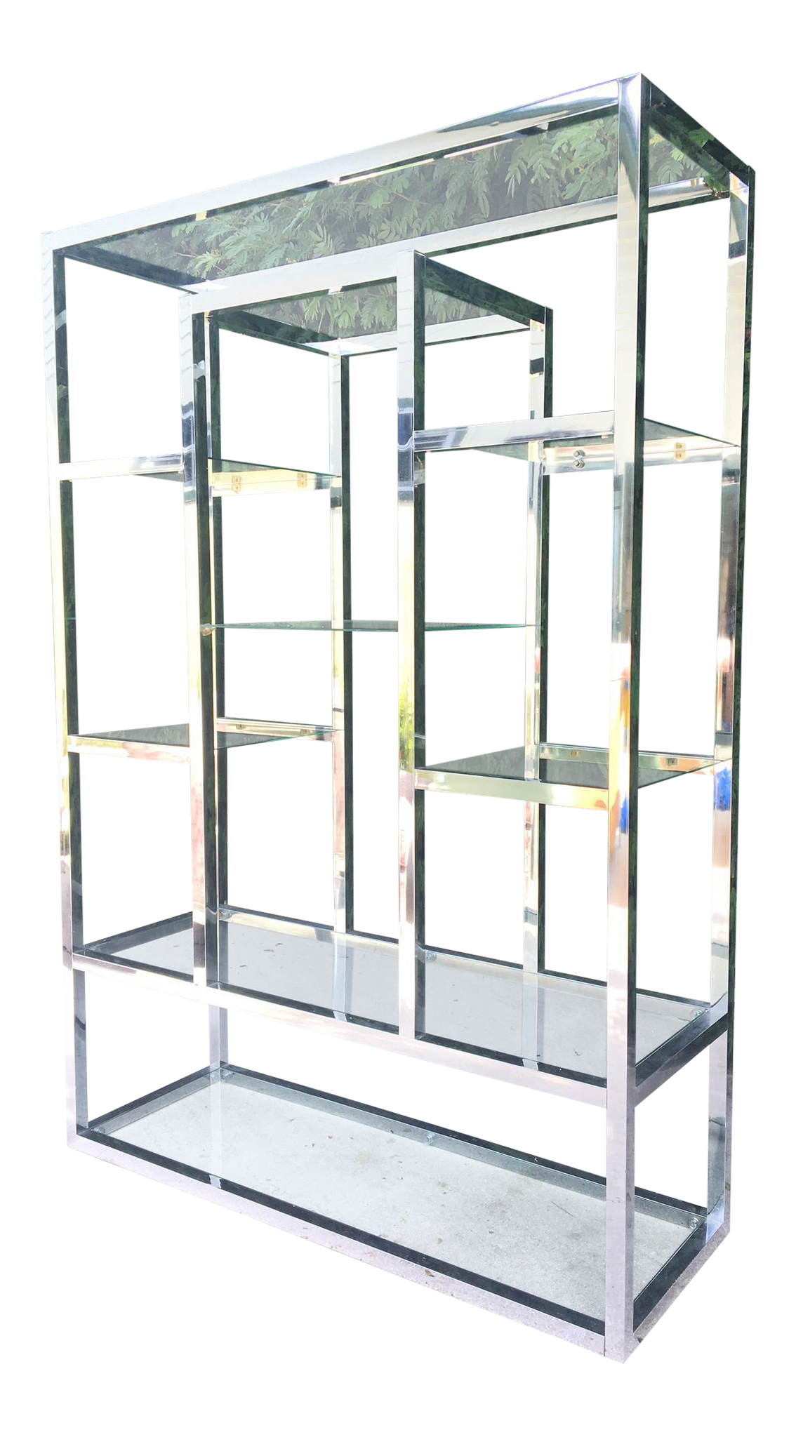 Chrome and Glass Milo Baughman Style Modern Etagere
