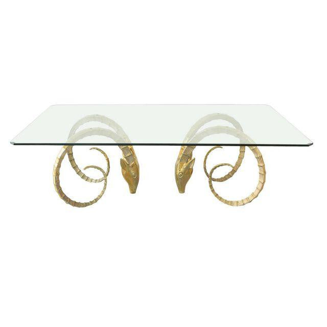 vintage brass ibex rams head dining table