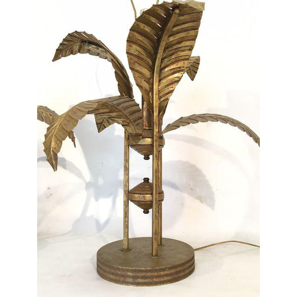 Pair of Large Tole Gold Gilt Sculptural Palm Tree Leaf Table Lamps