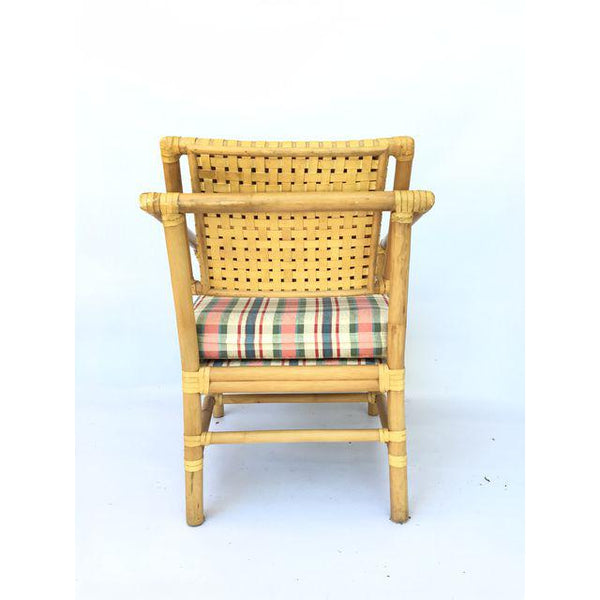 Brown Jordan Leather and Rattan Bamboo Dining Arm Chairs rear view