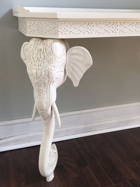 Gampel-Stoll Sculptural Carved Elephant Console Table