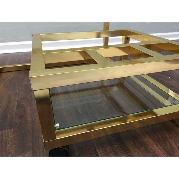 Cubist Brass Swivel Coffee Table with Wine Rack After Milo Baughman close up