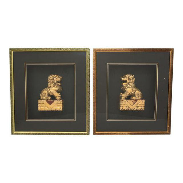 Pair of Framed Asian Chinoiserie Gold Gilt Foo Dog Sculptures
