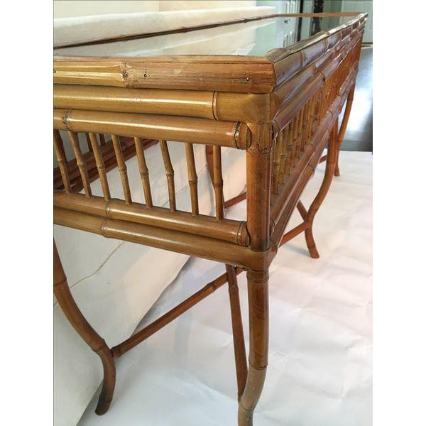 Bamboo and Glass Console Table