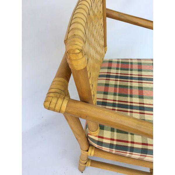Brown Jordan Leather and Rattan Bamboo Dining Arm Chairs top view